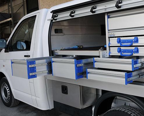 Hardtop mit Schubladencontainer VW T6 mit Pritsche